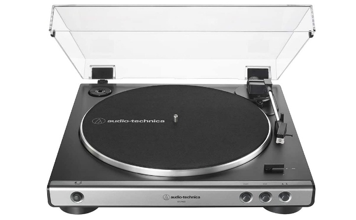 Audio-Technica AT-LP60X-GM Fully Automatic Belt-Drive Stereo Turntable, Gunmetal Black, Hi Fi, 2 Speed, Dust Cover, Anti-Resonance, Die Cast Aluminum Platter