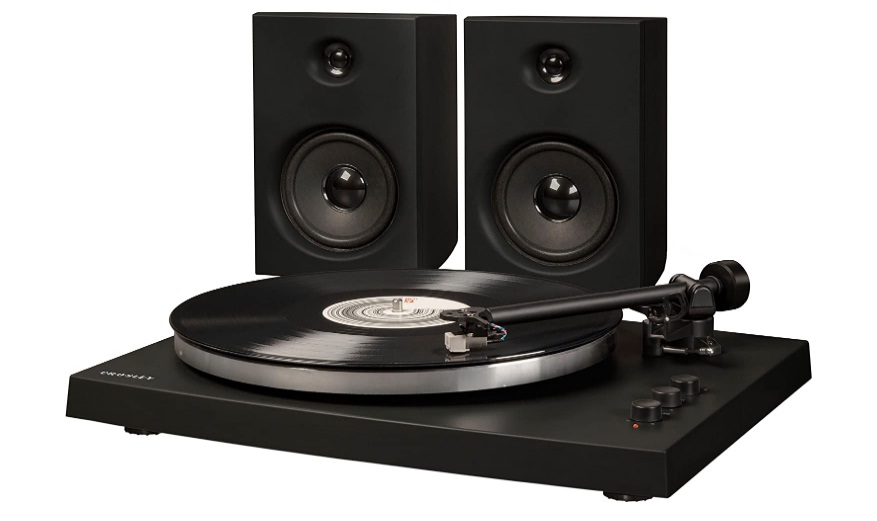 Crosley T150 Modern 2-Speed Bluetooth Turntable System with Variable Weighted Tone Arm and Stereo Speakers