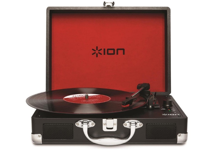 ION Audio Vinyl Motion Portable 3-Speed Belt-Drive Suitcase Turntable with Built-In Speakers