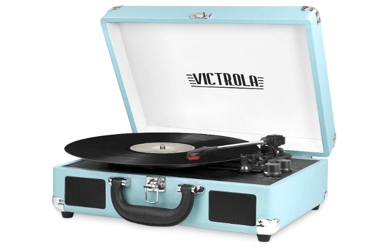 Victrola Vintage 3 Speed Bluetooth Portable Suitcase Record Player with Built-in Speakers Upgraded Turntable Audio Sound Includes Extra Stylus Turquoise Model Number VSC 550BT TQ